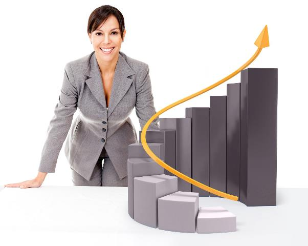 Successful businesswoman with  growth graph