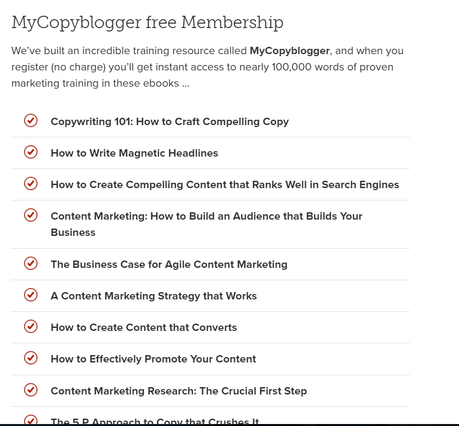CopyBlogger Membership Free Content