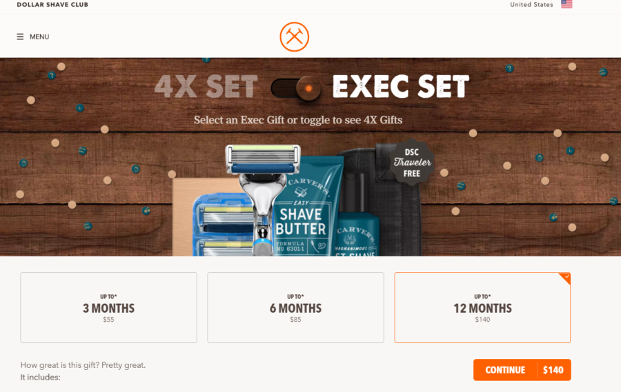 Dollar Shave Club Gift Page