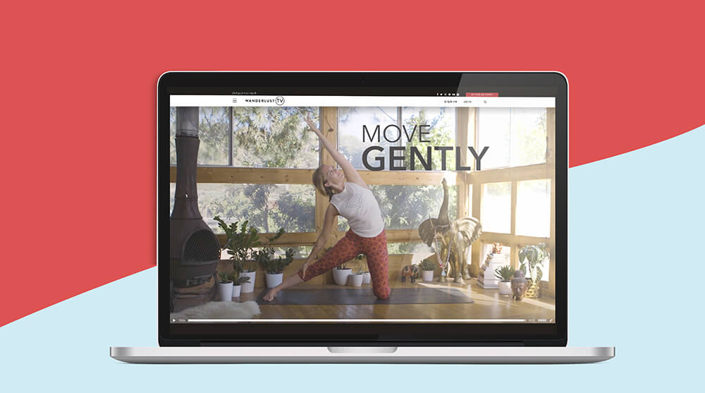 online yoga classes on laptop