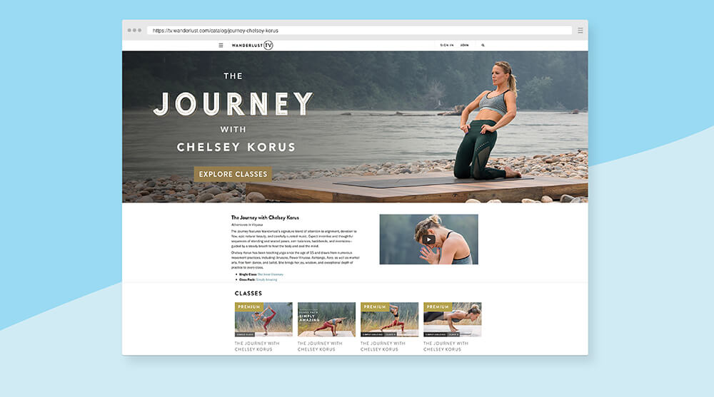 Wanderlust online yoga classes program page