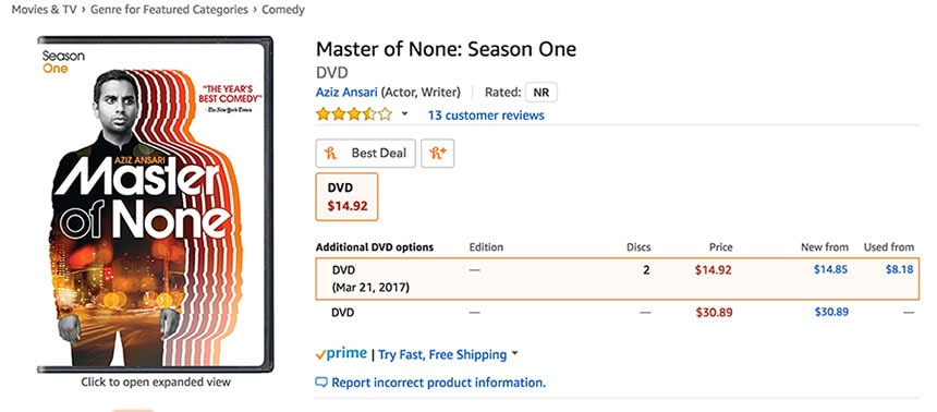 Master of none season one on Amazon