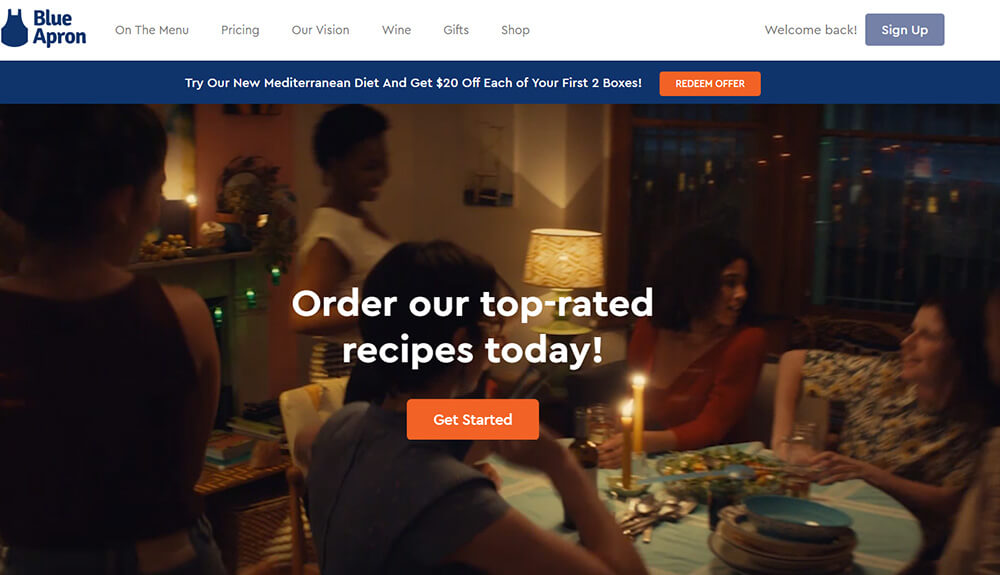 Blue Apron Subscription box website