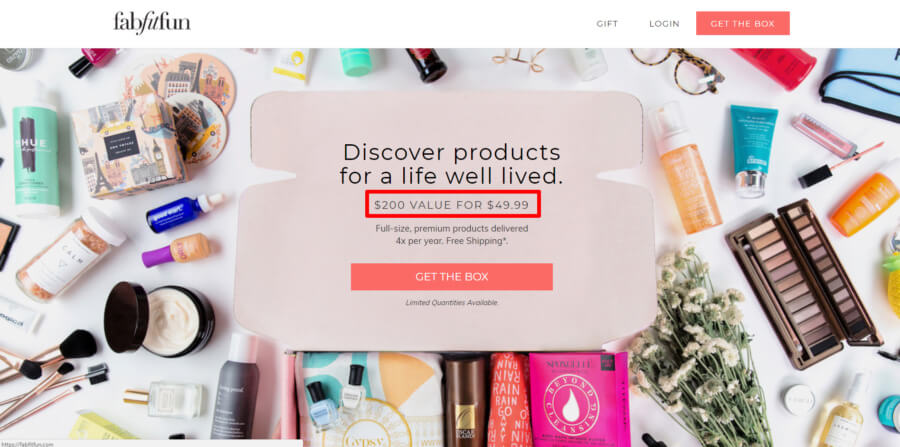 FabFitFun Subscription Box Page