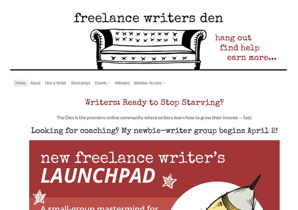 Freelance Writers Den website
