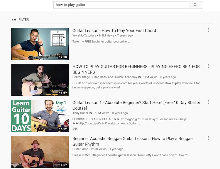 Guitar lessons YouTube search