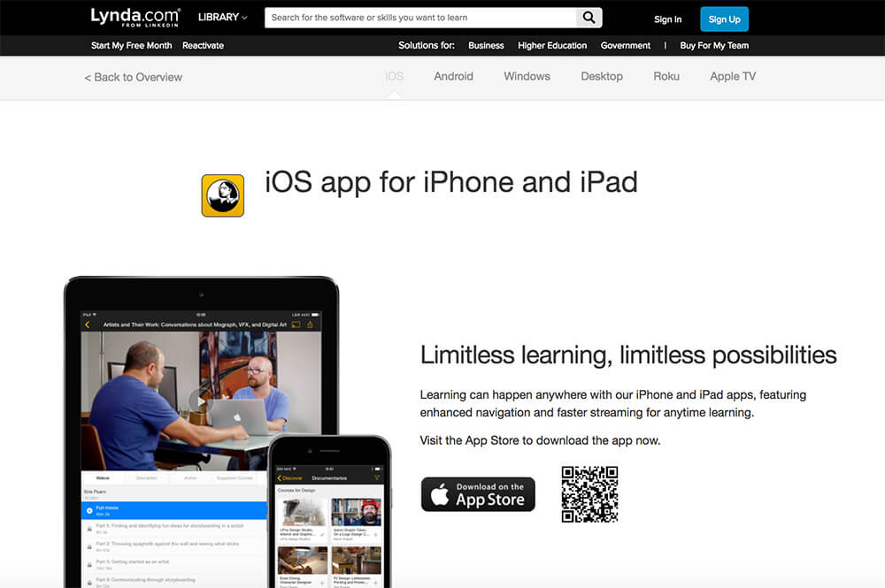 lynda iOS app for iPhone and iPad