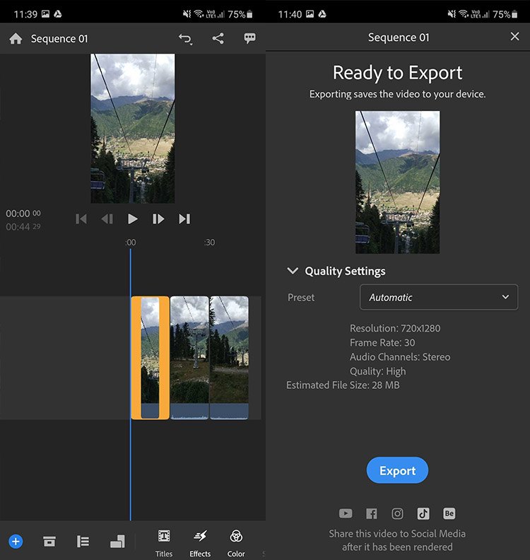 exporting combined video from Adobe Rush