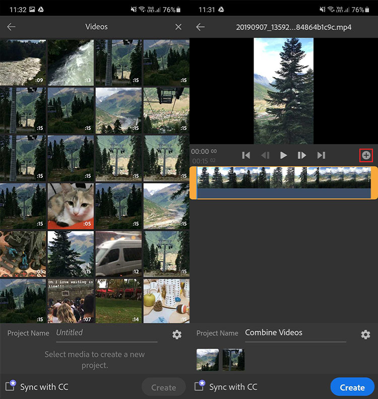 Creating a video project in adobe premiere rush