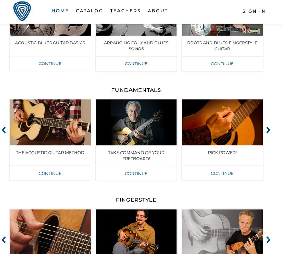 Guitarcast video on demand catalog
