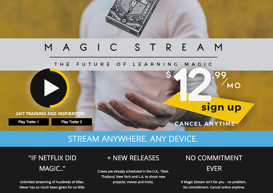 Magicstream SVOD storefront homepage