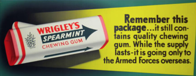 Wrigley company package of Spearmint chewing gum