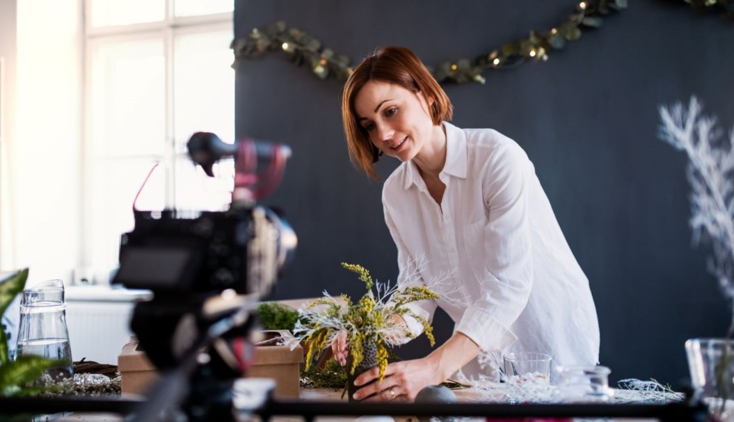 Woman recording for elearning business