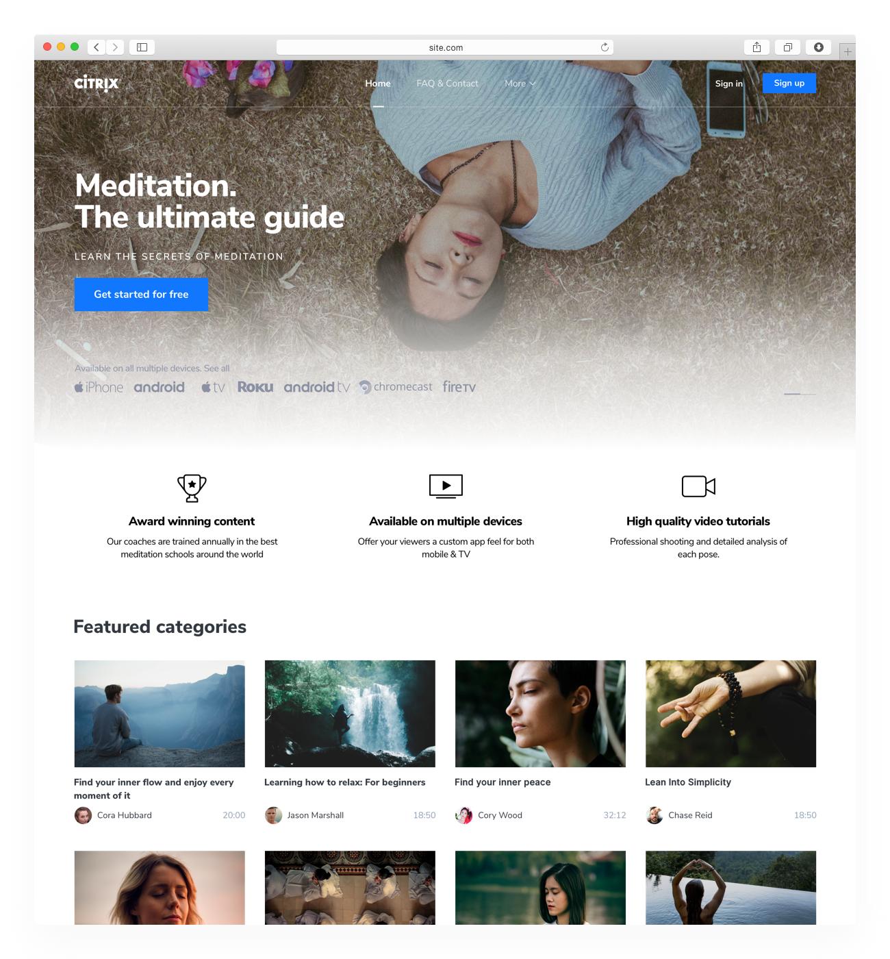 Video Website Template - Uscreen Summer Triangle