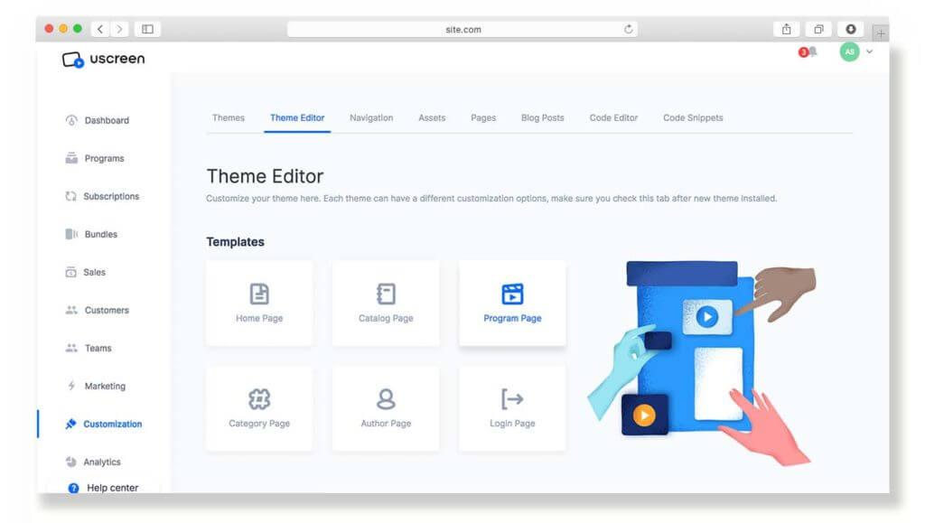 Uscreen template editor update