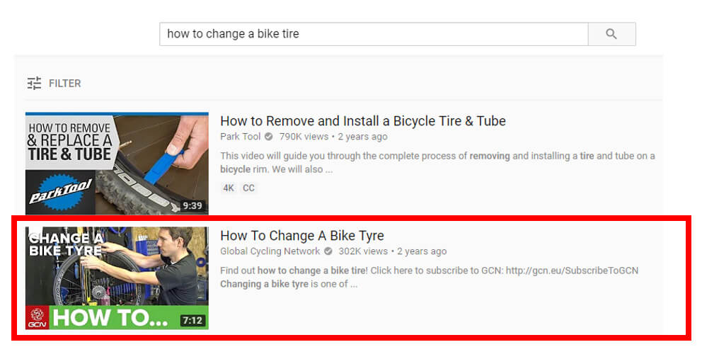 YouTube Search results page example