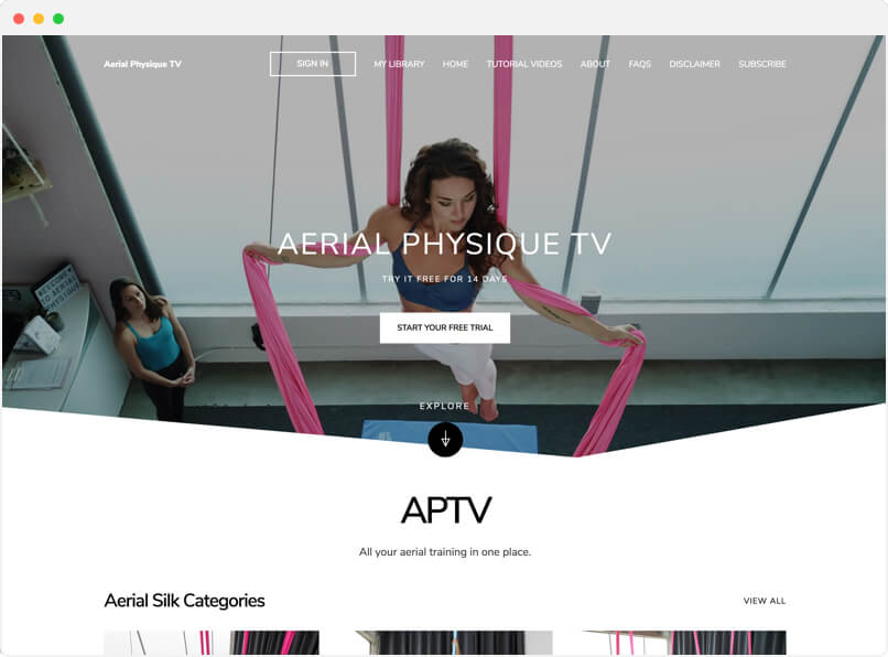 Aerial Physique TV streaming service