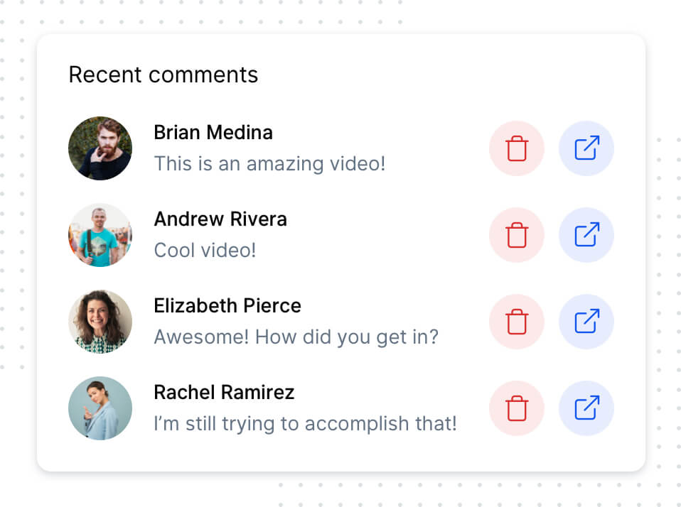 built-in commenting feature to engage with others