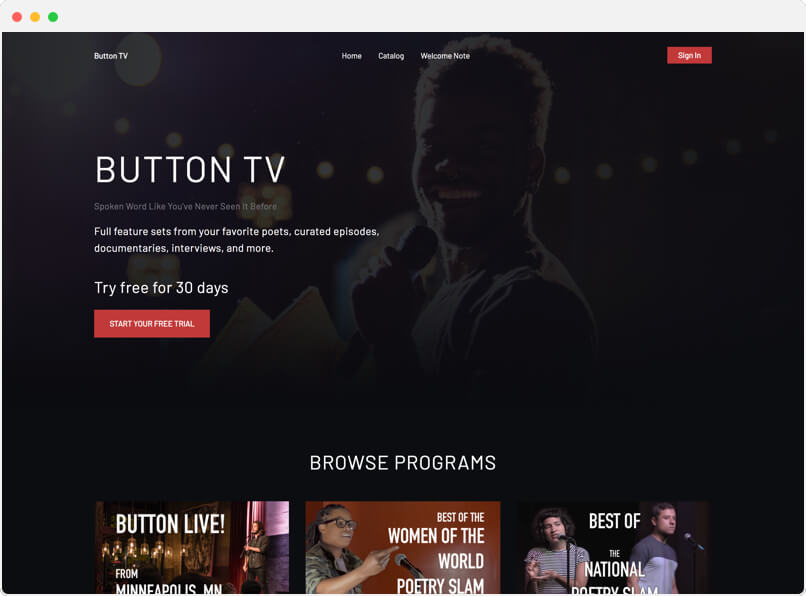 Button TV Video Platform for Poetry lovers