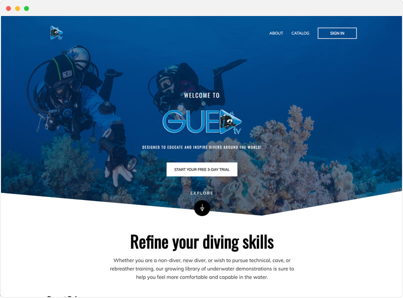 GUE TV streaming service dedicated to divers