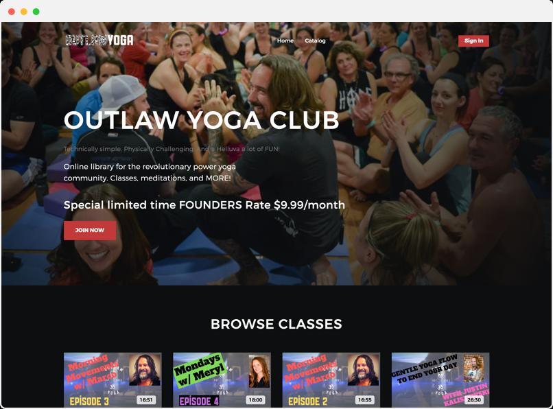 Outlaw Yoga Club website