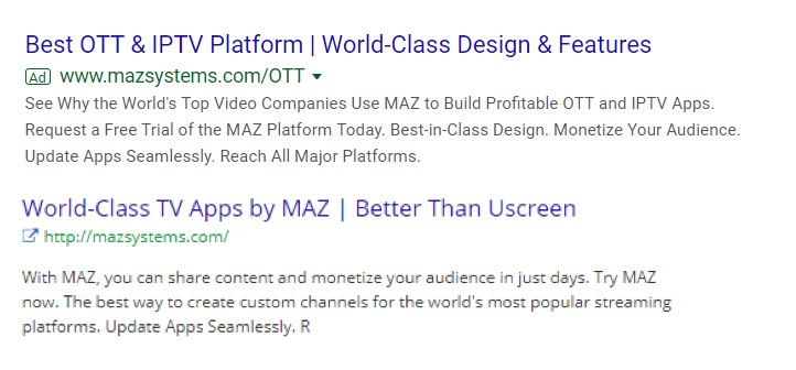 Uscreen vs MAZ ads