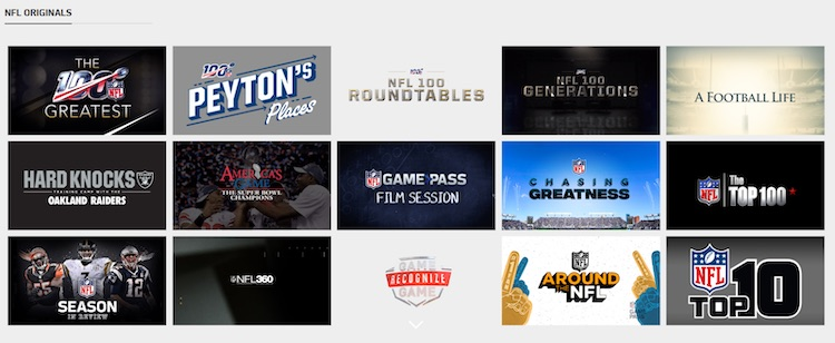 NFL Game Pass live streaming app originals