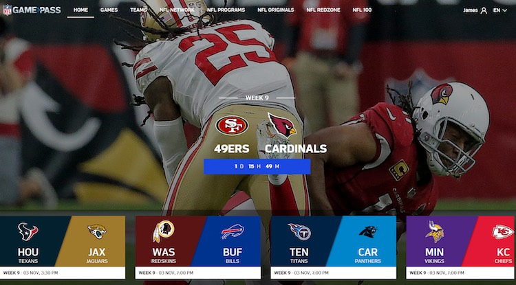 NFL Game Pass OTT live streaming