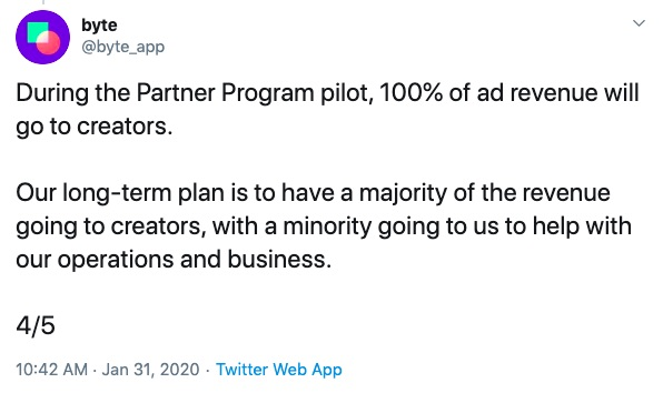 Byte partner program tweet