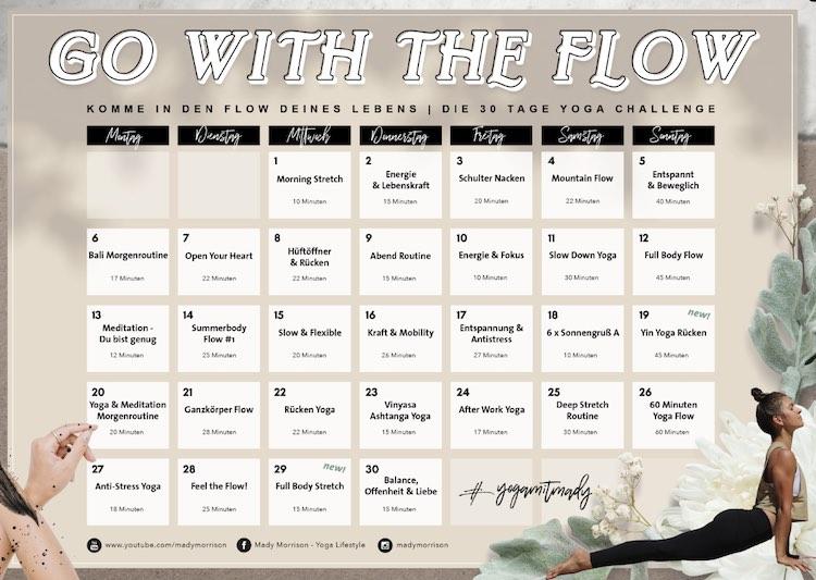 Mady Morrison yoga challenge calendar