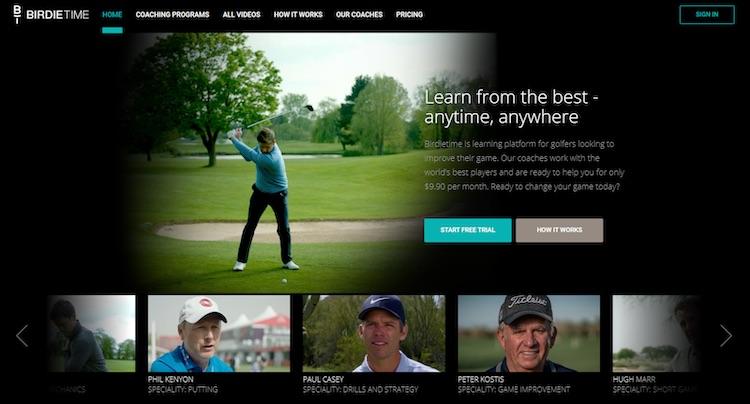 BirdieTime golf streaming homepage