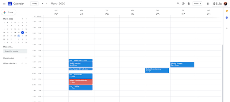 Google remote work calendar