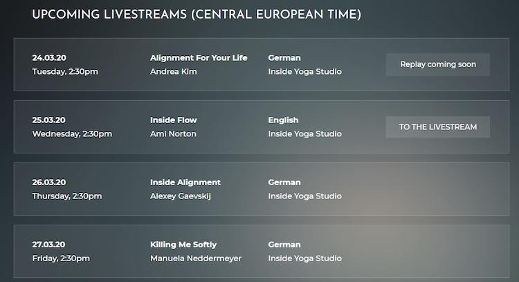 Tint Yoga live stream catalog