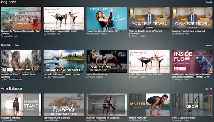 Tint Yoga video catalog