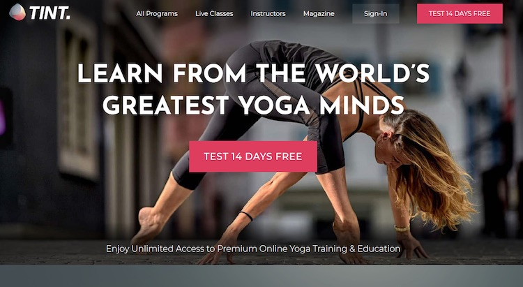 Tint Yoga video subscription homepage