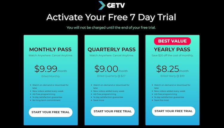 CETV subscription recurring annual and monthly fee options