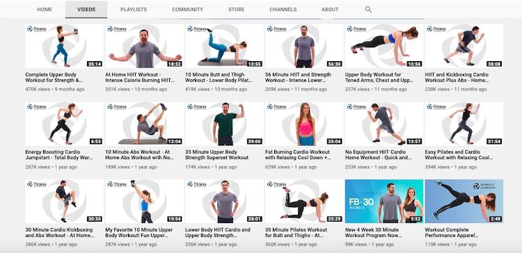 Fitness Blender YouTube video library