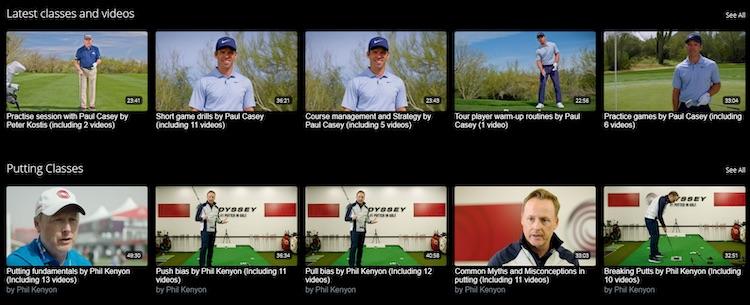Uscreen golf video website catalog