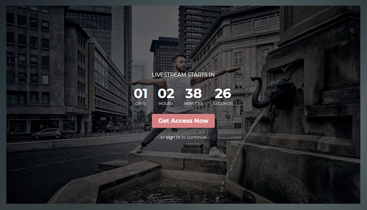 Uscreen video website live streaming countdown