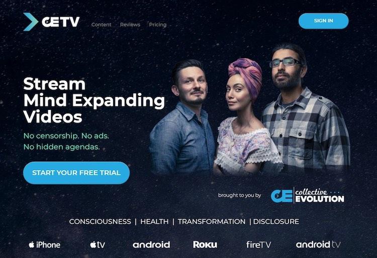 CETV streaming homepage