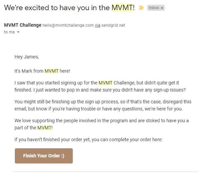 MVMT abandoned cart email