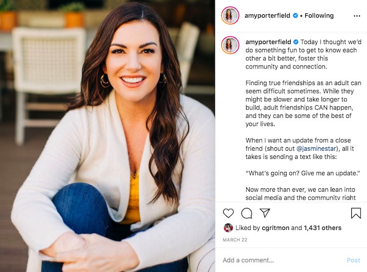 Amy Porterfield Instagram post