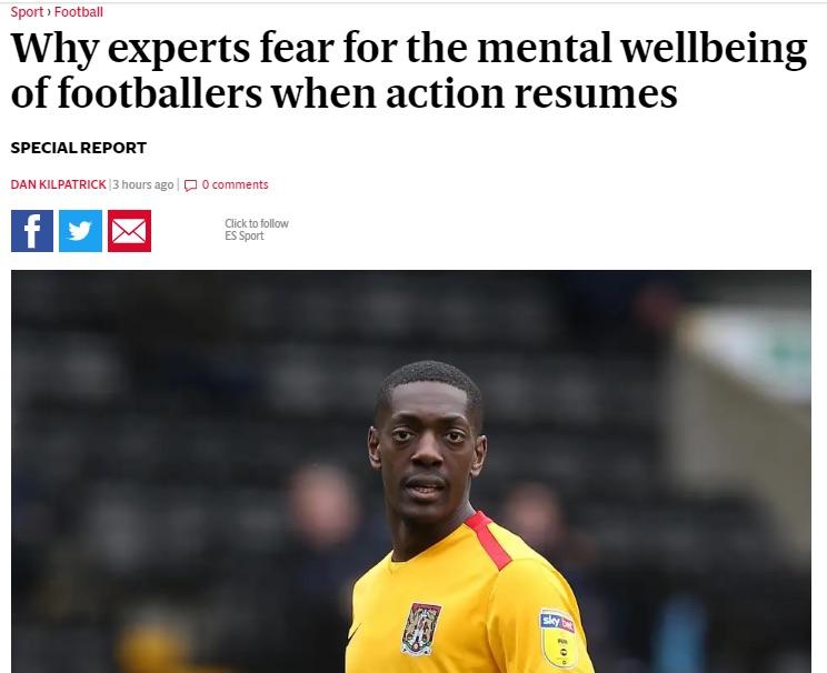Football mental health news post