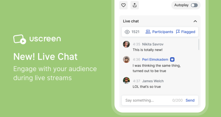 Uscreen new live chat feature