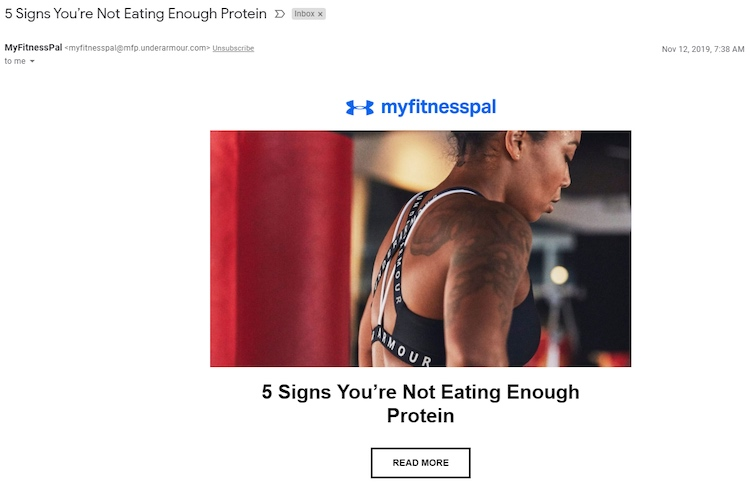 MyFitnessPal email example