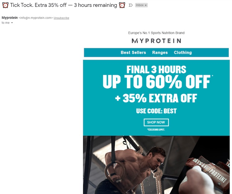 MyProtein promotional email