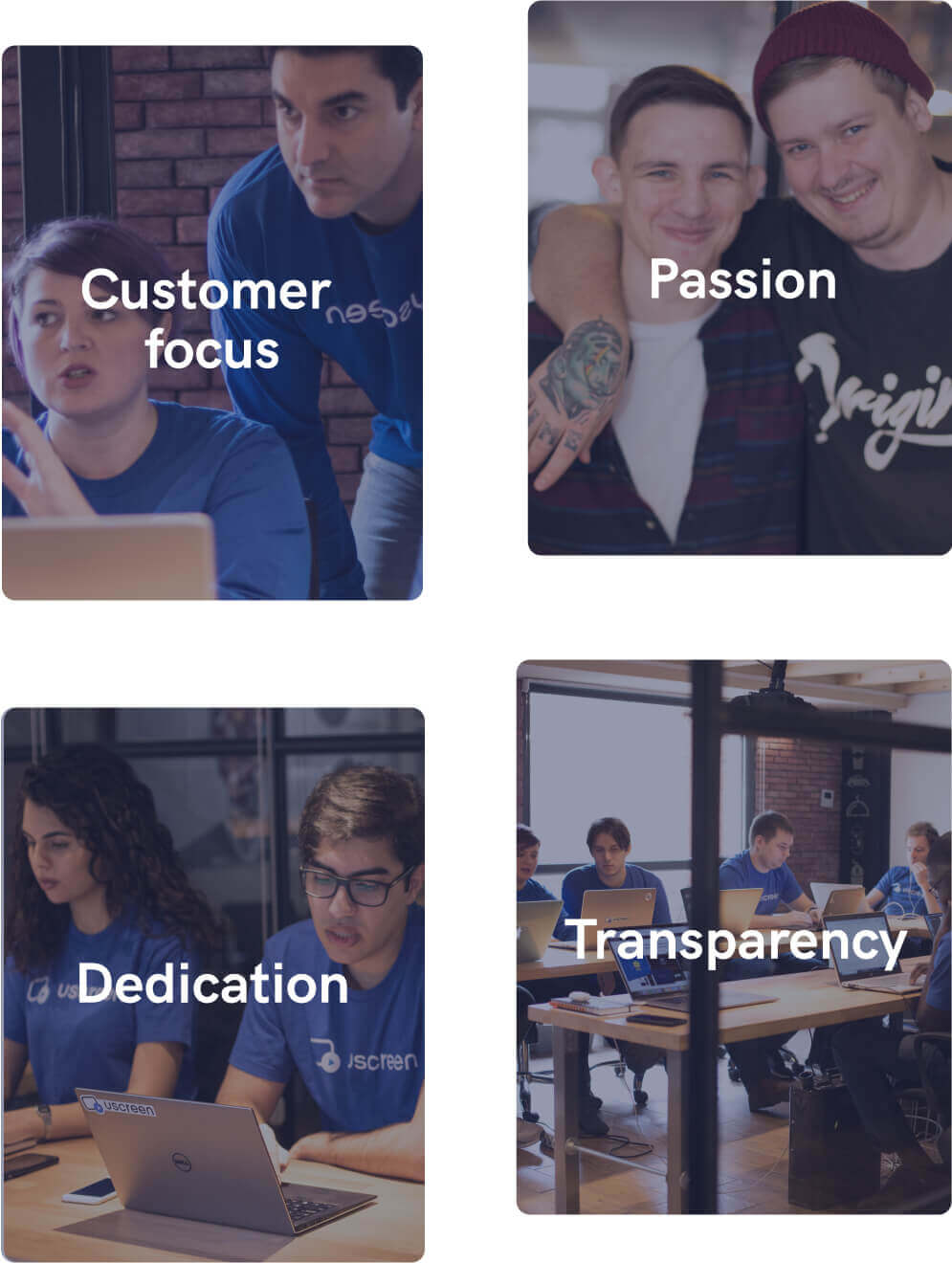 Uscreen's team values and principles