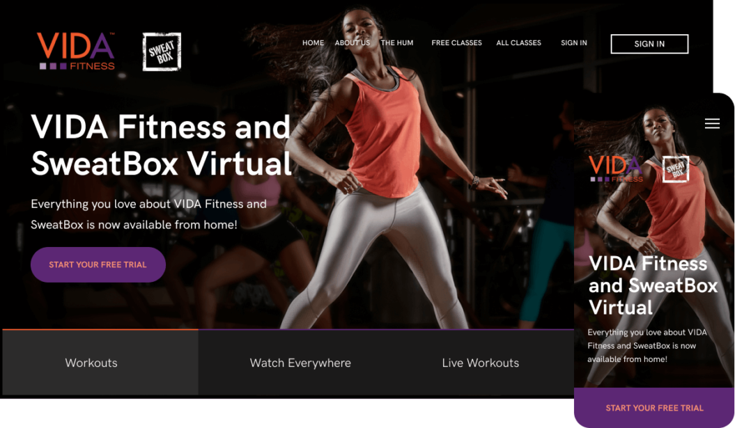 VIDA Fitness and Sweatbox Virtual Storefront