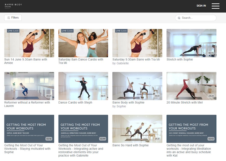 Barre Body Online content library