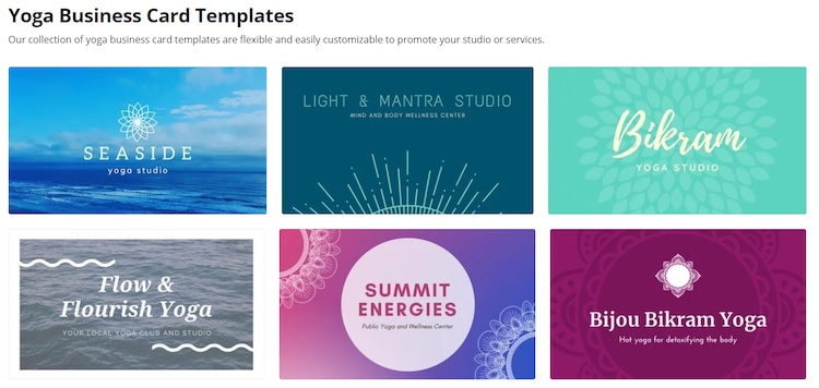 Canva yoga business card templates